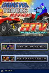 ATV: Thunder Ridge Riders / Monster Trucks Mayhem Nintendo DS Game Select Screen