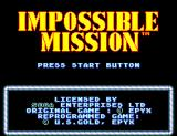 Impossible Mission SEGA Master System Title screen