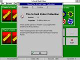 The 5-Card Poker Collection Windows 3.x Help / About: Program screen