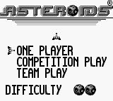 Asteroids Game Boy Main Menu