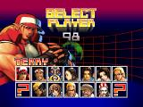 Fatal Fury: Wild Ambition PlayStation Character select screen