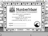 NumberMaze Macintosh Getting a certificate after completing a level