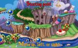 Maths and English with Rayman: Volume 3 DOS The Tree of Worlds. On the left are the training missions in Betilla's Garden. Up and Left leads to the first challenges.