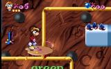 Maths and English with Rayman: Volume 3 DOS Art Alley: Rayman must choose words that have similar sounds to the word spoken by the Wizard. The choice is made by hitting the paintbrush marker near the selected word.