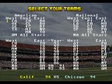 RBI Baseball '95 SEGA 32X Team selection