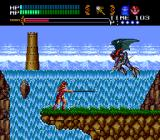 Valis III TurboGrafx CD Boss battle against a flying dude. Go Belmont, Cham!