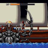Valusa no Fukushū     Sharp X68000 The first boss battle is against a giant sea crab with his minions