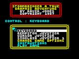 Stormbringer ZX Spectrum Main menu