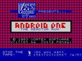 Android One: The Reactor Run ZX Spectrum Title screen