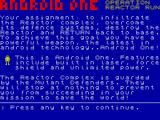 Android One: The Reactor Run ZX Spectrum Instructions