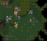 Bahamut Lagoon SNES Battle in forest.