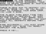 Centipede ZX81 Instructions