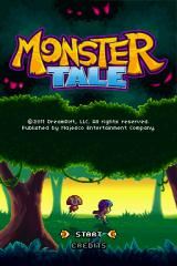 Monster Tale Nintendo DS Title screen, complete with nice animated silhouettes of Ellie and Chomp and some lovely music.