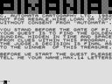 Pimania ZX81 Title screen and introduction