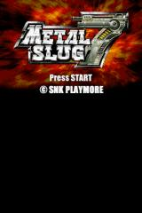 Metal Slug 7 Nintendo DS Title screen