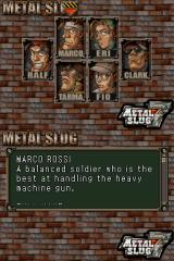 Metal Slug 7 Nintendo DS Character selection