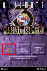 Ultimate Mortal Kombat 3 Nintendo DS Game mode selection