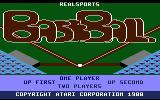 RealSports Baseball Atari 7800 Title screen