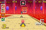 Mario Kart: Super Circuit Game Boy Advance Protecting my back with a banana by holding down the left shoulder button on the Bowser Castle 1 track.