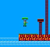 Bionic Commando NES Dressed in camouflage lime green, our hero parachutes into action!