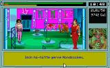"Space Job DOS ""Sell the product"" mini-game. Talk with customers in multiple-choice dialogues."