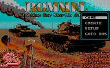 "Rommel: Battles for North Africa DOS Main menu. Notice the ""Create"" option, it opens the mission editor."