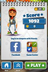 Subway Surfers iPhone Main menu