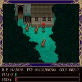 Ancient Ys Vanished Sharp X68000 A secluded house in the forest. Enemies gang up on me