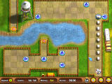 "Sheep's Quest Windows This shows all of the arrows I used to get them to the exit. Rotating the arrows several times during play is sometimes necessary. The ""Up"" blocks bounced them across the lake."