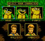 Battletoads & Double Dragon: The Ultimate Team NES Character select screen