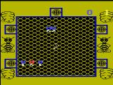 Killer Bees! Videopac+ G7400 A game starts. The background graphics are exclusive for the Videopac+.