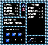 Strider NES The status screen keeps track of abilities, keys and data disks found