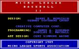 MicroLeague Baseball II DOS Title screen (CGA with RGB monitor)
