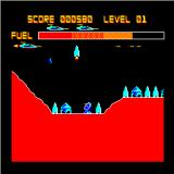 Deathstrike Sinclair QL Level 1 - a missile launches, and it all looks familiar if you know the Scramble concept