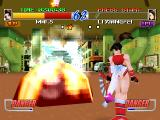 Fatal Fury: Wild Ambition PlayStation Mai cause a lot of damage to Xiangfei with her Neo Lotus Storm