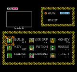 Fester's Quest NES The Inventory Screen keeps track of all your items and weapon power-up levels