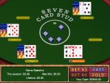 Vegas Games 2000 Windows The Poker table playing 7-Card Stud. Other poker games are selectes from the game's menu bar and all have the same layout