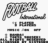 Football International Game Boy Title screen.