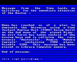 Doctor Who and the Mines of Terror BBC Micro First part of incoming message from the Time Lords on Gallifrey