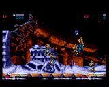 Forgotten Worlds Amiga Blasting action.