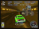 Ridge Racer Zeebo Driving the Ruykyu in the novice course. Machines inside the tunnel block the passage to the right.