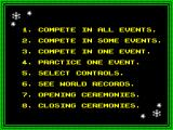The Games: Winter Edition ZX Spectrum Option screen.