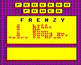 Frenzy BBC Micro Title Screen with Main Controls