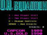 U.N. Squadron ZX Spectrum Title screen.
