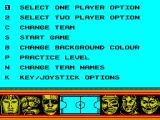 Skateball ZX Spectrum Option screen.