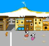 Snoopy's Silly Sports Spectacular NES Sack hop across the street area to the finish line