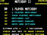 Match Day II ZX Spectrum Main menu.