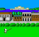 Snoopy's Silly Sports Spectacular NES Snoopy's got his pole and is ready to jump over the river