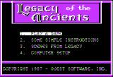 Legacy of the Ancients Apple II Game setup screen.