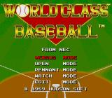 World Class Baseball TurboGrafx-16 Main Menu